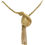 Vintage Gold Tassel Necklace | 18K Yellow Link Chain | French Retro