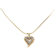 Diamond Heart Pendant Necklace   14K Yellow Gold   Vintage Chain Witchs