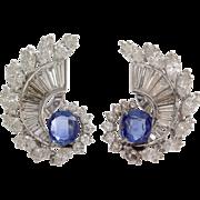 Art Deco Sapphire Diamond Earrings   Platinum 14K Gold   Vintage Blue