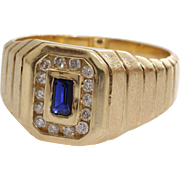 Sapphire Diamond Mens Ring | 14K Yellow Gold | Vintage Retro Blue Gents