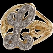Letter L Diamond Ring   14K Bicolor Gold   Vintage Cocktail Initial