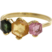 H Stern Tourmaline Ring   18K Yellow Gold   Vintage Green Pink Brazil