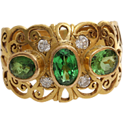 Green Garnet Diamond Ring   22K Yellow Gold   Vintage Israel Cocktail
