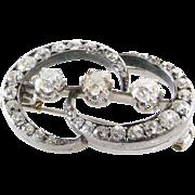 Art Deco Diamond Brooch   14K White Gold   Old Mine Cut Vintage Pin