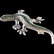 Victorian Lizard Brooch   Diamond Demantoid Gold   Ruby Antique Russia