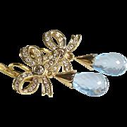 Blue Topaz Drop Earrings   18K Gold Diamond   Antique Russia Briolette