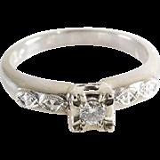 Art Deco Diamond Ring   14K White Gold   Engagement Vintage Brilliant