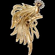 Vintage Gold Bird Brooch   18K Yellow Diamond Ruby   French Pin Jewelry