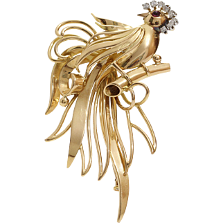 Vintage Gold Bird Brooch | 18K Yellow Diamond Ruby | French Pin Jewelry