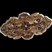 Victorian Garnet Gold Brooch   9K Yellow Pin   Antique England Red 9Ct