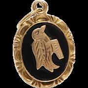 Gold Bird Pendant   18K Yellow Onyx   Vintage Black Jewelry Chalcedony