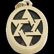 Magen David Gold Pendant   Malachite 14K Yellow   Vintage Israel Charm
