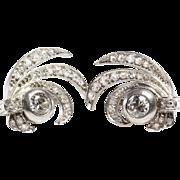 Art Deco Diamond Earrings   14K White Gold Drop   Victorian Vintage