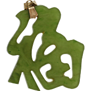 Green Jadeite Jade Pendant   18K Yellow Gold   Vintage China Good Luck
