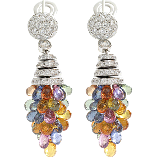 Graff Diamond Sapphire Chandelier Earrings | 18K White Gold Briolette