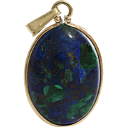 Eilat Stone Pendant | 14K Yellow Gold | Vintage Jewelry Oval Israel