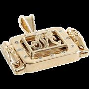 Letter M Pendant | 14K Yellow Gold Diamond | Vintage USA Initial Round