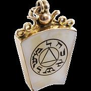 Edwardian Masonic Pendant | 9K Gold Agate | Holy Royal Arch Antique