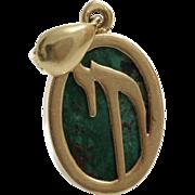 Chai Eilat Stone Pendant | 14K Yellow Gold | Israel Vintage Oval Hai