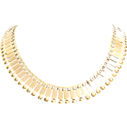 18K Gold Fringe Necklace | Retro Vintage French | Bib Yellow Collier