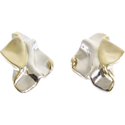 Argent Clip On Earrings | Bicolor Sterling Silver | Vintage Lost Wax