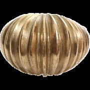 Retro Gold Bombe Ring | 9K Yellow Dome | Cocktail Ridged Vintage UK