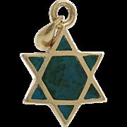 Magen David Gold Pendant | Eilat Stone 14K Yellow | Vintage Star
