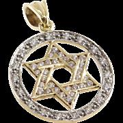 Magen David Gold Pendant | 14K Bicolor Cubic Zirconia | Israel Vintage