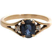 Sapphire Diamond Cocktail Ring | 14K Yellow Gold | Vintage Three Stone