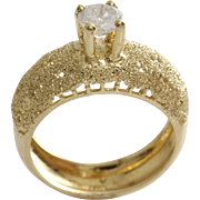 Diamond Engagement Ring | 14K Yellow Gold | Round Solitaire Vintage