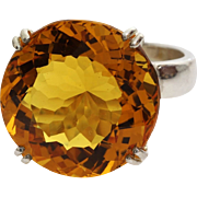 Citrine Cocktail Ring   Sterling Silver Vintage   Orangy Yellow Israel