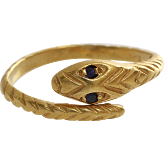 Sapphire Gold Snake Ring | 14K Yellow Vintage | Serpent Pinky Israel