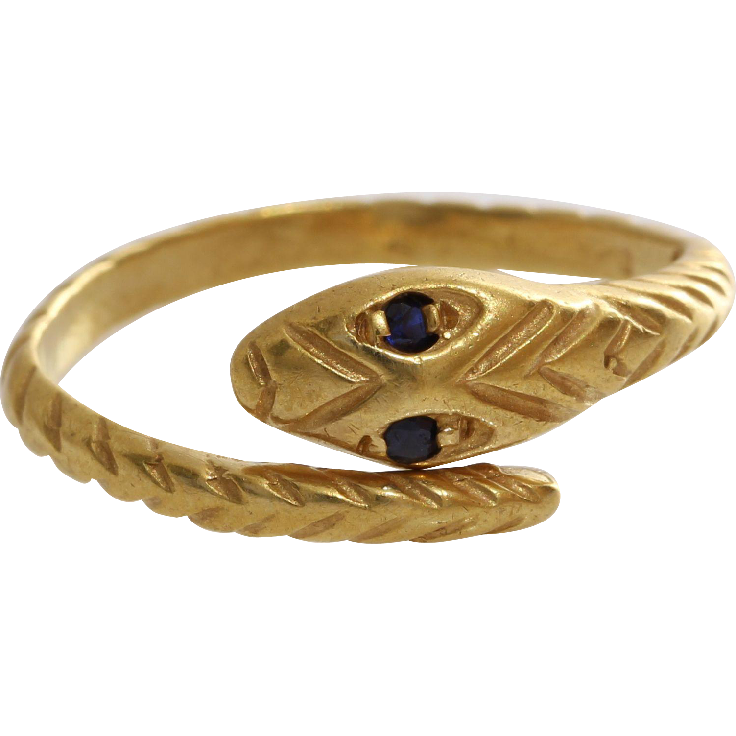 sapphire gold snake ring 14k yellow vintage serpent