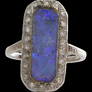 Edwardian Black Opal Ring | Platinum Diamond | Antique Cocktail