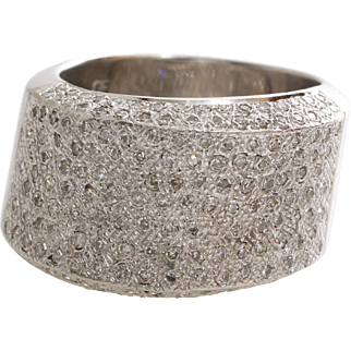 Diamond Cocktail Ring | 14K White Gold | Vintage Brilliant Cut Cluster