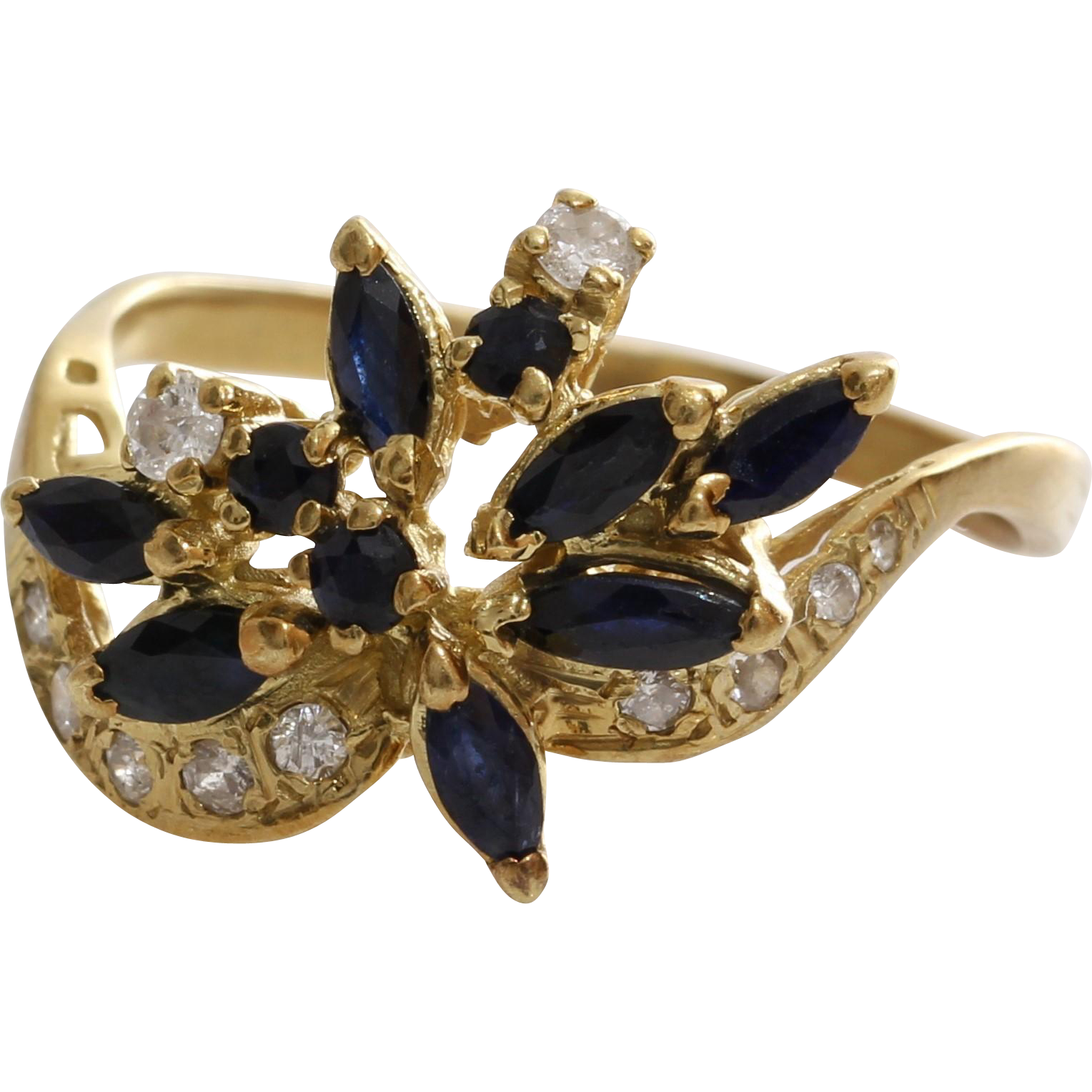 Sapphire Diamond Cocktail Ring 14k Yellow Gold Vintage