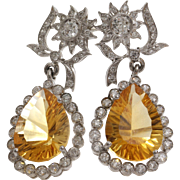 Edwardian Imperial Topaz Earrings   Platinum Diamond   Antique Drop