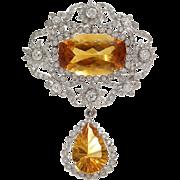 Edwardian Imperial Topaz Pendant   Platinum Diamond   Antique Orange