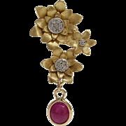 Ruby Diamond Flower Earrings   18K Yellow Gold   Vintage Drop Dangle