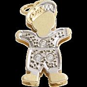 Boy Charm Pendant | 14K Yellow White Gold | Vintage Cubic Zirconia CZ