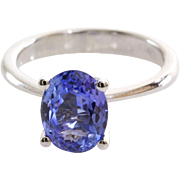 Tanzanite Engagement Ring   14K White Gold   Vintage Solitaire Blue