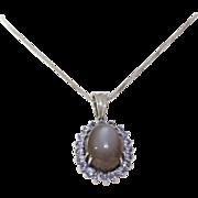 Moonstone Tanzanite Pendant Necklace | 14K White Gold | Link Chain