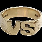 VS Initial Ring | 9 Karat Yellow Gold | Vintage Mens England Gents