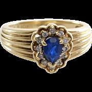 Sapphire Diamond Halo Ring | 10K Yellow Gold | Vintage Engagement