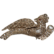 Ottoman Diamond Bird Brooch   9K Yellow Gold   Antique Ruby Pin