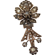 Ottoman Diamond Flower Brooch | 9K Rose Gold | Antique Floral Pin