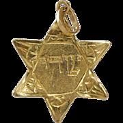Magen David Pendant Charm | 18K Yellow Gold | Vintage Retro Star