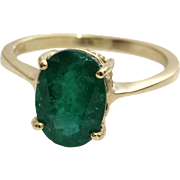 Emerald Gold Ring | 14K Yellow Solitaire | Vintage Cocktail Israel