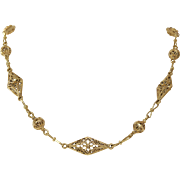 Filigree Link Chain Necklace | 21K Yellow Gold | Israel Vintage