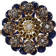 Victorian Diamond Pendant Brooch | 15K Gold Silver | Enamel Pin